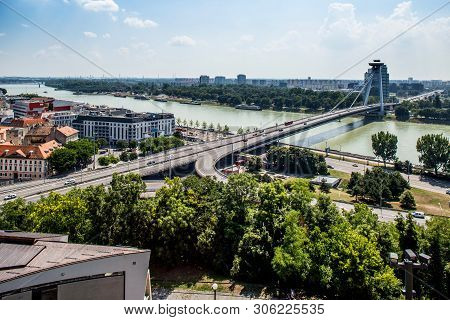 Bratislava, Slovakia. 04 August 2015. General View Of Danube River With Bridge Of The Slovak Nationa
