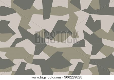 Seamless Geometric Camouflage Pattern. Military Texture With Debris Shape. Khaki Forest, Soldier Cam