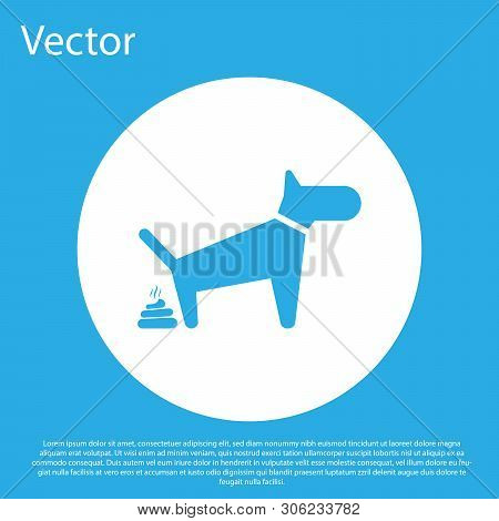 Blue Dog Pooping Icon Isolated On Blue Background. Dog Goes To The Toilet. Dog Defecates. The Concep
