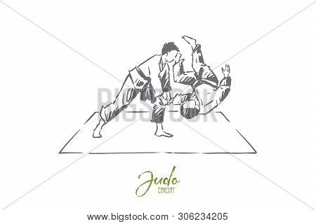 Karate Sparring, Young Fighter In Kimono Throwing Opponent On Mat, Oriental Combat Practice, Trainin