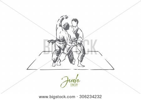 Karate Or Judo Sparring, Traditional Oriental Martial Arts, Young Fighters In Kimono Practicing Foot