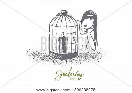 Love Cage Metaphor, Girl Looking At Boyfriend Tiny Character Imprisoned In Birdcage