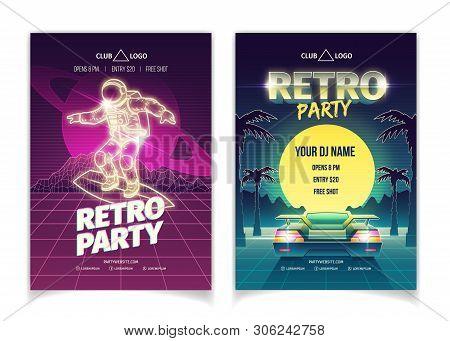 Retro Music Party, Disco Club Dancing Event, Dj Performance In Nightclub Cartoon Vector Placard, Fly
