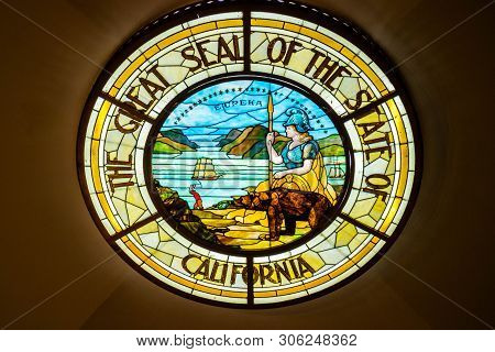 Sacramento State Capital, Ca, Usa - October 4, 2017: The Great Seal Of The State Of California Stone