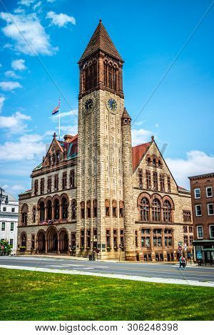 Albany, Ny, Usa - July 28, 2018: The Well Structured Albany City Hall