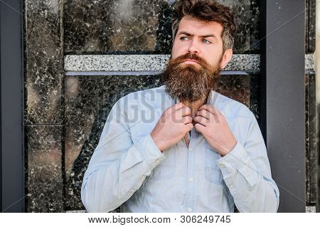 Barber Concept. Beard Grooming. Beard Care. Masculinity And Manliness. Man Attractive Bearded Hipste