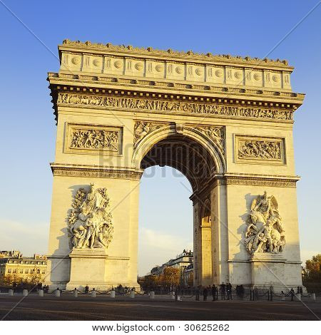 Arch of Triumph on the Etoile place square. Paris France poster