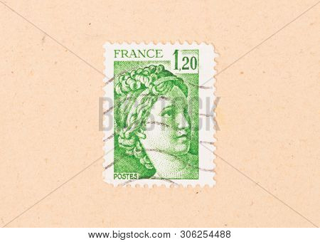 France - Circa 1970: A Stamp Printed In France Shows Portrait Of A Woman, Known As Liberty, After Eu