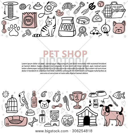 Cute Pets And Different Care Elements With Text. Doodle Vet Symbol Collection And Lovely Dogs, Cats,