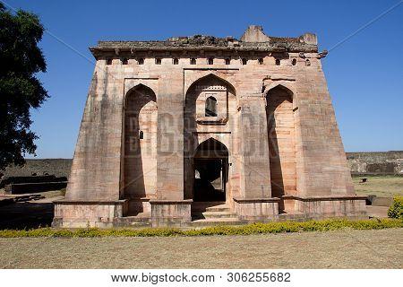 Frontal View Of Hindola Mahal Or Swinging Palace Audience Hall With Sloping Side Walls At Mandu, Mad