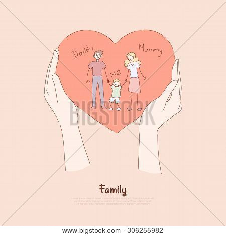 Hands holding greeting card, holiday present, happy couple with little boy, mommy, daddy and son, family love banner poster