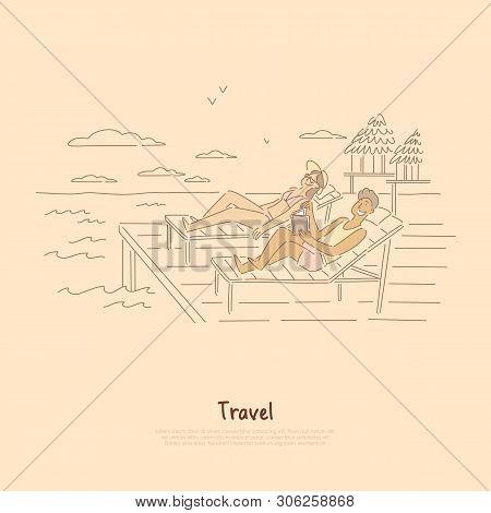 Seaside Recreation, Couple, Friends Sunbathing In Deck-chairs, Suntanned Man Reading Book On Sea Res