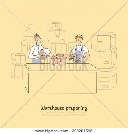Warehouse Workers Preparing Products For Shipment, Supervisor Checking Orders List, Handyman Packing