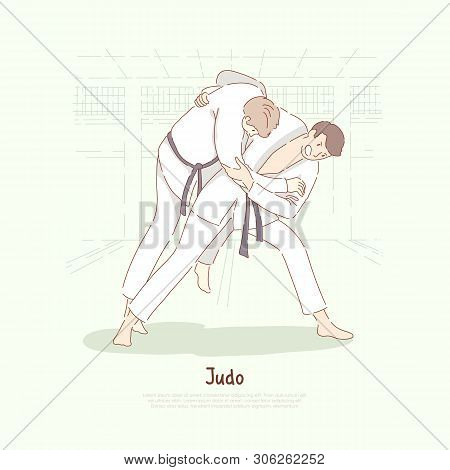 Traditional Asian Martial Arts Sparring, Young Men In Kimono Practicing Footboard, Self Defence, Jud
