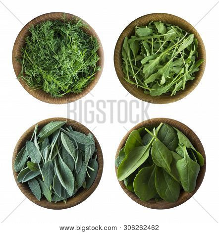 Top View. Fresh Green Lettuce And Herbs Isolated On A White Background. Leaves Of Sage, Arugula, Spi