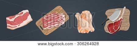 Raw Uncooked Meat, Pork Fillet, Bacon Slices, Chicken Legs, Ham Hough, Beef Gammon, Delicious Barbec