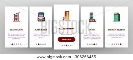 Dwelling House, Condo Onboarding Mobile App Page Screen Vector. Condo, Apartment Buildings. Resident