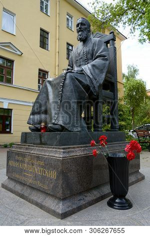 Kronstadt, Russia - May 24, 2019 - Monument To John Of Kronstadt, A Russian Orthodox Christian Presb