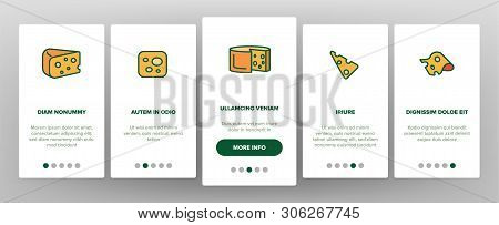 Cheddar Cheese Vector Onboarding Mobile App Page Screen. Cheddar Piece, Milk Products. Snack, Food.