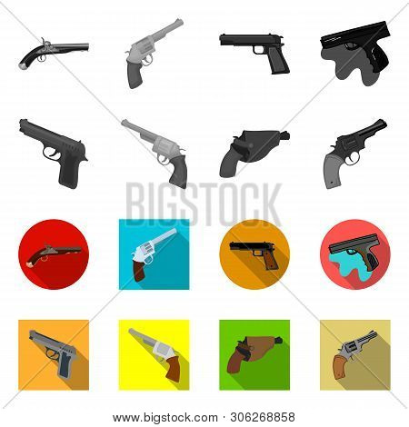 Vector design of revolver and pistol sign. Set of revolver and trigger stock symbol for web. poster