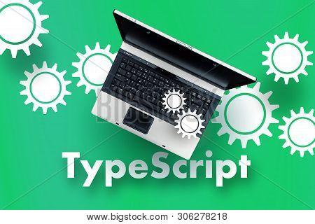 TypeScript programming language. Laptop on word TypeScript poster