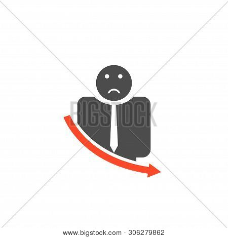 Unsuccessful Businessman With Red Icon . Vector Illustration