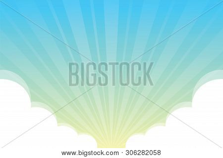 Blue Sky With Fluffy Clouds White Background, Sky Background With Clouds White Cartoon Concept, Sky
