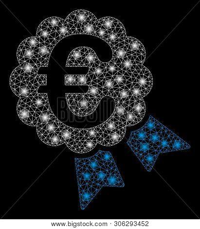 Bright Mesh Euro Award With Lightspot Effect. Abstract Illuminated Model Of Euro Award Icon. Shiny W