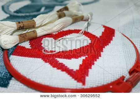 embroidered cross heart