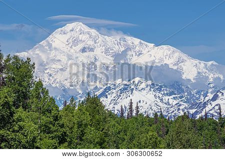 A Clear View Of Denali On The Way To Denali National Park In Alaska.
