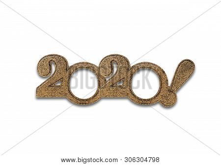 2020 Numbers Isolated. Two Thousand And Twentieth New Year Holiday Glasses In The Form Of Figures Tw