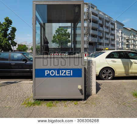 Berlin, Germany - Circa June 2019: Polizei (meaning Police) Box