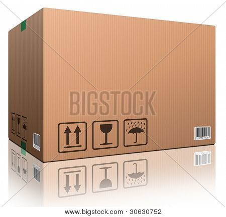 cardboard box blank with copy space and isolated on white brown package for shipping order moving or storage with labels and bar code closed and sealed icon