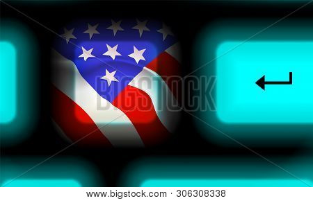 American Flag Button In Neon Computer Keyboard On Black Background. Up Close Travel Usa. Glowing Mod