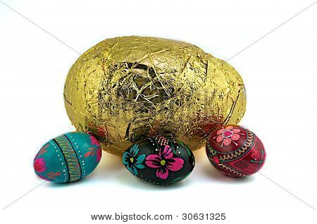 Gold And Colorful Easter Eggs.