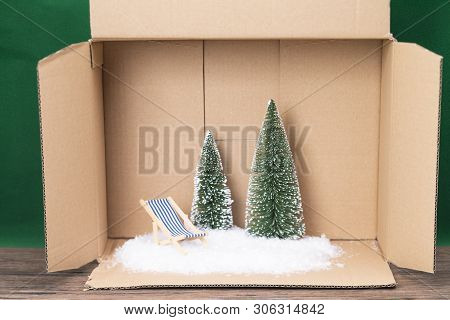 The Image Shows An Artificial Scene Of A Winter Vacations, Out Of A Box