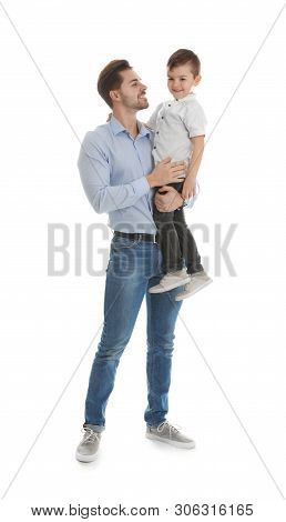 Portrait Of Dad And His Son Isolated On White