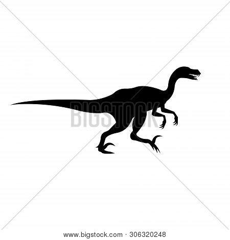 Vector Flat Black Silhouette Of Velociraptor Dinosaur Isolated On White Background