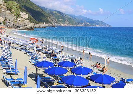 Monterosso Cinque Terre Italy, June 01 2018: Landscape Of Spiaggia Di Fegina Beach At Monterosso Vil