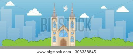 Catholic Church With Spire And Stained Glass Windows Banner Vector Illustration. Beautiful Place In
