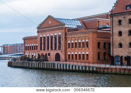 Gdansk, Poland - February 05, 2019: Polish Baltic Philharmonic On The Motlawa River On The Island Of