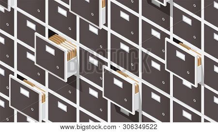 Vector Isometric File Storage Concept Illustration. Very Detailed Big Storage Cabinet With Open Draw
