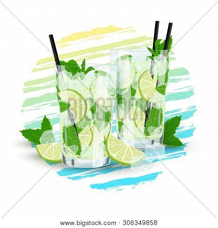 Vector Realistic Illustration Of Couple Of Glasses With Lemonade Or Mojito Cocktail. Hand Drawn Glas