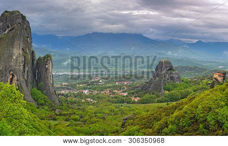 Amazing Landscape Of Green Valley Meteora, Trikala Region, Greece