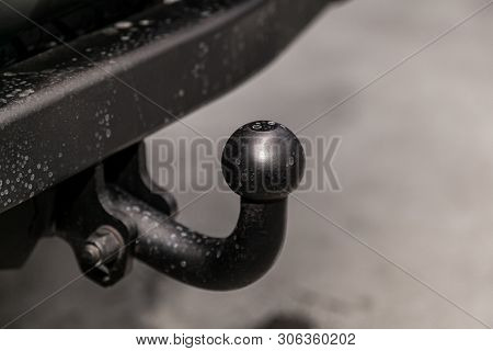 Close Up, Black Car  Tow Hitch.view Of The Vehicle Hitch Closeup