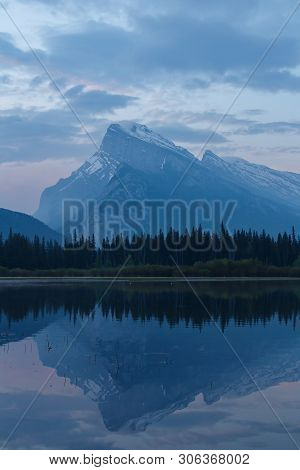 Mount Rundle Mountain Peaks In Banff Canada