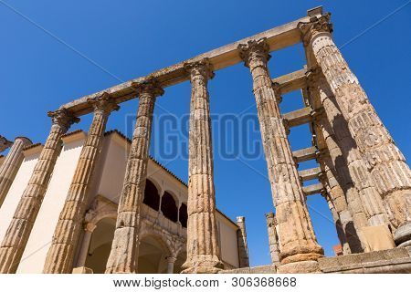 Corinthian style marble columns of the Temple of Diana at Merida. Founded by ancient Rome in western Spain poster
