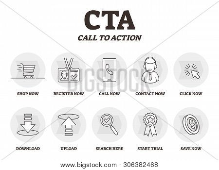 Cta Or Call To Action Vector Illustration. Marketing Advertising Strategy. Bw Outlined Symbolic Phra