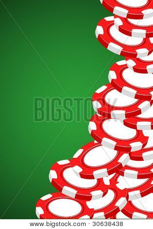 Casino vector illustration red chips on green