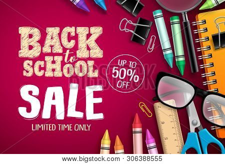 Back To School Sale Banner Vector Design In Red Background With School Supplies And Education Elemen
